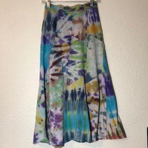 Tie dye gypsy maxi skirt